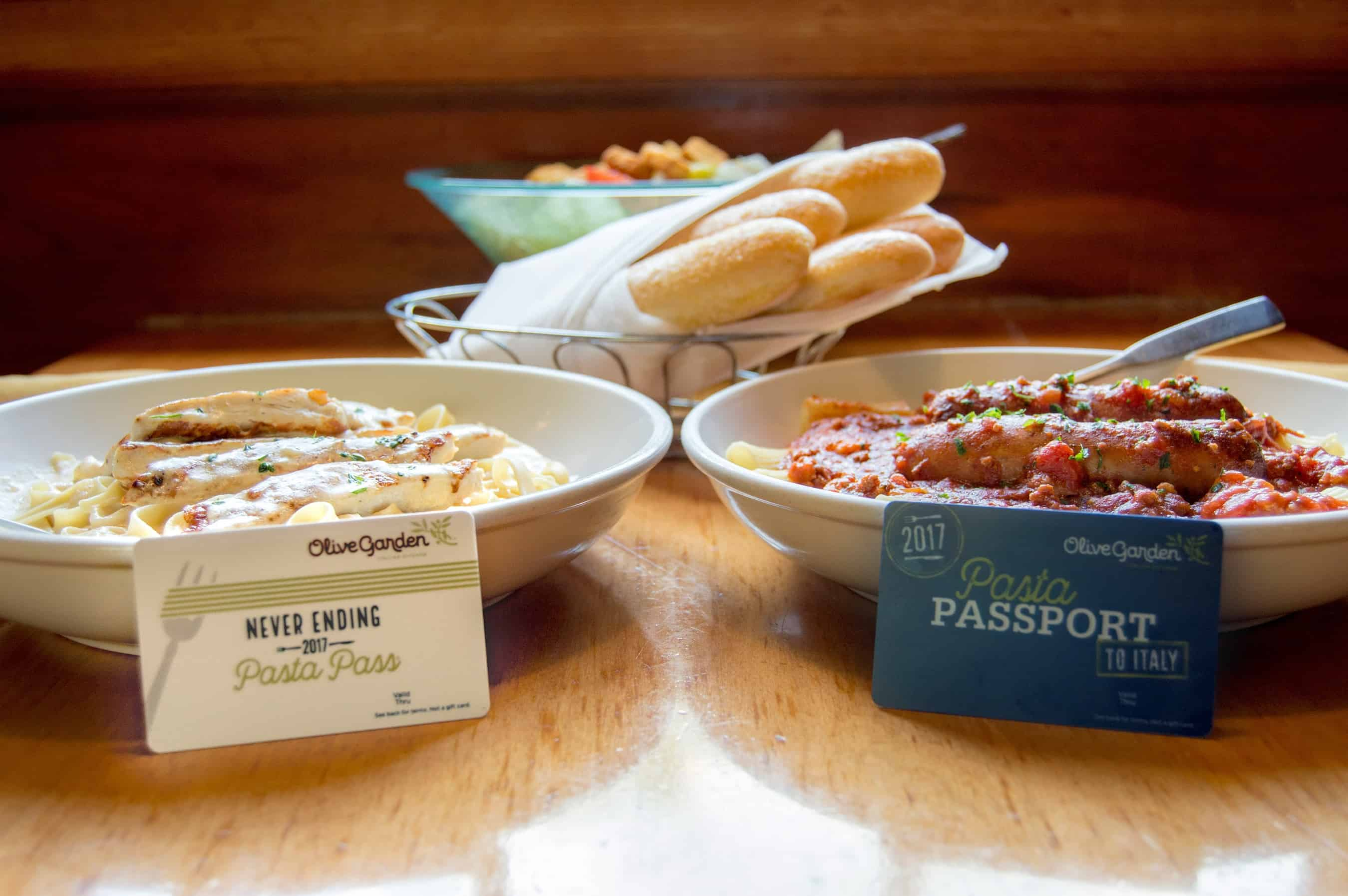 Olive garden never ending pasta mile high on the cheap for Tour of italy olive garden price