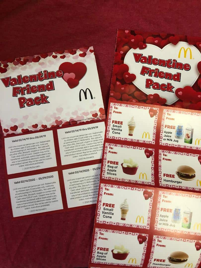 Mcdonalds Christmas Treat Packs 2020 McDonald's Valentine Friend Treat Pack For $1   12 Coupons For
